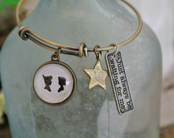 Peter Pan, Just always be waiting for me, Peter Pan braceletm adjustable bangle.  Available in antique gold or brushed gold