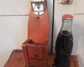 Kitschy Wood Wall Mount Bottle Opener Bottle Cap Catcher...Kap Katcher