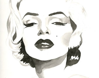 Marilyn Monroe Watercolor Contemporary Watercolor Painting Black and White Print