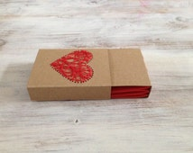 Kraft Matchbox Notebook with Red Embroidered Heart and bound with Xses