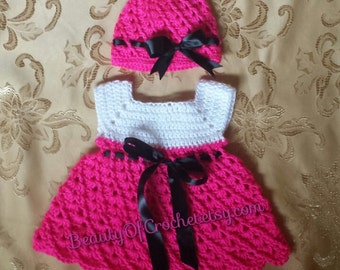 Baby girl dress and hat. Crochet baby girl set. newborn set. Digital pattern.