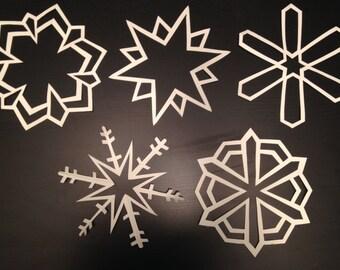 Large White Paper Snowflakes: Set of Ten