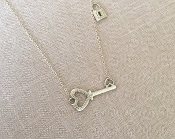 Key and lock necklace, Sterling silver chain, delicate and pretty