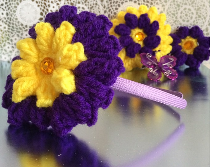 Crocheted Interchangeable Flower Headband Set