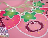 Print Your Fiesta digital party set - Strawberry shortcake inspired banner - Complete ABC - create your own message