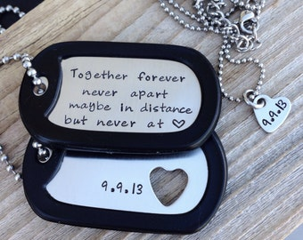 custom Hand stamped military dog tags his and her necklaces deployment gift