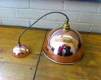 Copper pendant light fitting, hand made in the uk