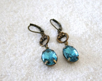 Teal Blue Vintage Rococo Style Glass and Fleur de Lis Drop Earrings, Gift for Her