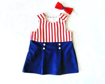 Sailor Girl Dress - Toddler Dress -Summer dress- Baby Girl Sailor Dress - Baby Dress 3M - 3T