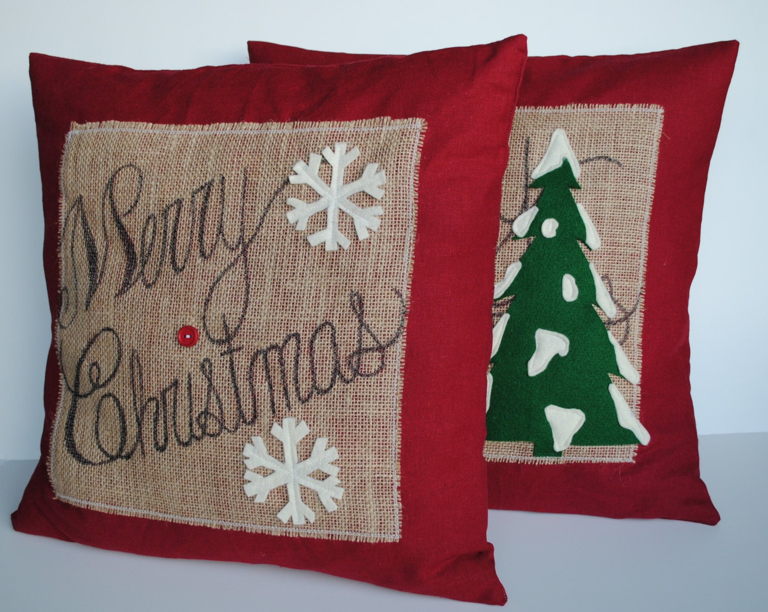 Two Merry Christmas Tree Pillow Covers By