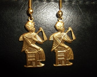 Beautiful seated pharaoh/god vintage brass