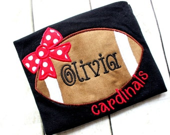 Girls Football shirt with name red white and black football shirt with bow girls shirt football top for baby girl Red and Black football set
