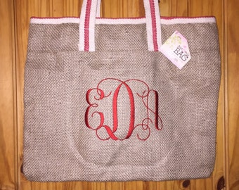 Large Jute Burlap Bag Tote Red trim personalize with name or monogram :)