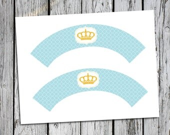 Cupcake Wrapper- Little Prince Baby Shower- Instant Download PDF printable file