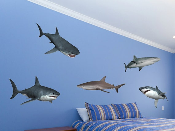shark wall decal set great white shark wall stickers boys. Black Bedroom Furniture Sets. Home Design Ideas