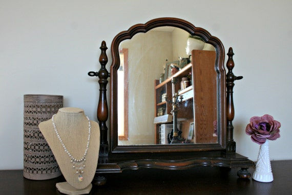 antique dresser mirror tabletop vanity mirror vintage wood 87963