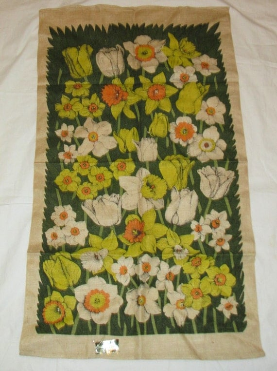 Vintage kaydee kitchen tea towel kay dee handprints field of Kay dee designs kitchen towels