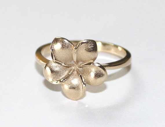 hawaiian plumeria ring 14k yellow gold 6 75 by kristalprincess