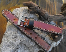 Wrist watch band, Leather watch band, men's watchstrap, handmade leather strap, band for watch, color whiskey, 22mm watch strap, valentines