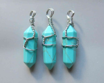 Silver Wire Wrapped turquoise Pendant - B957