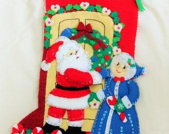 "Finished Christmas Stocking  Mr/Mrs Clause  18"""