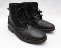 "Rare 80's Vintage ""SUSAN BENNIS WARREN EdWARDS"" Distressed Black Leather High-Top Boots Sz: 8 (Men's Exclusive)"