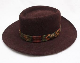 "Rare 80's Vintage ""DORFMAN PACIFIC"" Brown Wool Big Fedora Sz: SMALL (Men's Exclusive)"