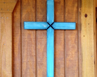 Turquoise Cross, Turquoise Wall Cross, Wood Cross, Handmade Wooden Cross, Large Cross, Large Wall Cross, Light Blue Cross, Shabby Chic Cross