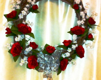 Silk Roses and silver bow on a Grapevine Wreath