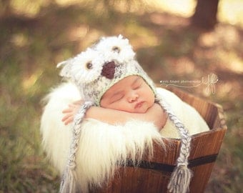 Snowy Owl Hat -  Crochet Baby Owl Hat - Gender Neutral Hat - Photo Prop - Baby Boy or Baby Girl