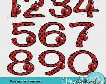 Ladybug in Red Clipart Numbers 300 DPI