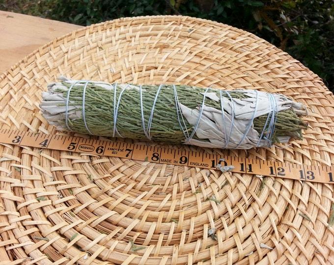 Large California White Sage with Cedar (Salvia Apiana & Cedrus) Bundle 7~9 inches, wild harvested, Reiki infused