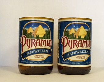 Pyramid Hefeweizen Beer Bottle Glasses. Recycled Glass Bottles.