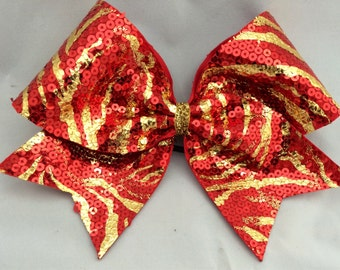 Cheer Bow - Zebra Tiger Sequin