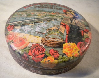 Vintage 1920s Tin Box 'Made in France'  Lady carrying basket with Factory in Background