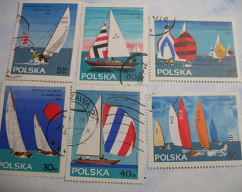 SAILING Sail Boats  Sailboats -  Vintage Used  Postage Stamps from Poland  -  (B96)