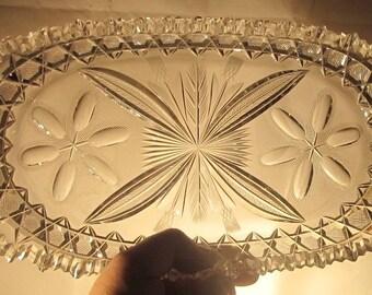 Huntley or Libbey Cut Glass Bread Tray c.1910-1915
