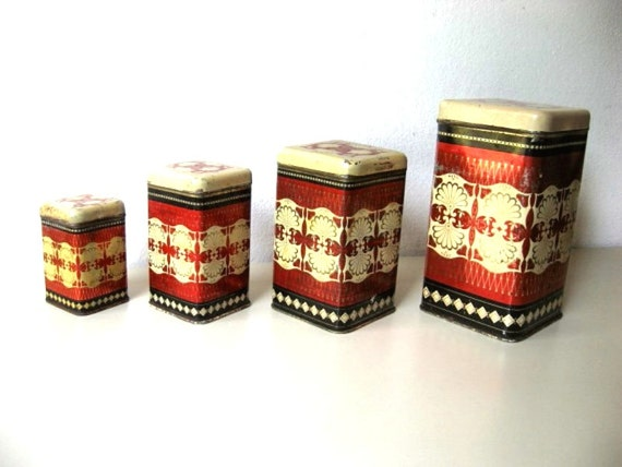 vintage kitchen canisters set of 4 tin boxes from by lunartics