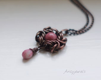 Chainmaille copper necklace-Rhodonite