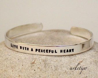 Personalized Sterling Silver bangle Bracelet - Cuff - Bangle.. Custom Bracelet.. Engraved Inside or Outside..