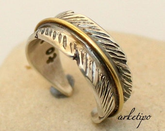 Feather Sterling Silver Personalized Ring - Adjustable  Men's / Women's Ring - Personalized.