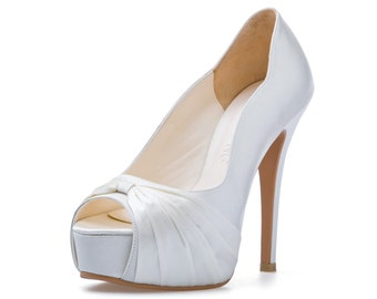Custom Made Wedding Shoe. White Wedding Shoe. Satin Wedding Heel. White Bridal Shoe. Custom Made Wedding Shoe.