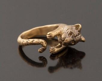 SALE Golden Tiger Ring. Adjustable Tiger Ring. Tiger Wrap Ring. Animal Ring. Feline Ring. Boho Ring