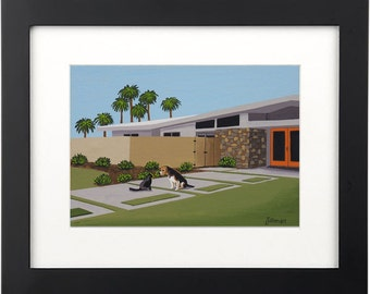 Mid Century Modern Eames Retro  Print from Original Painting Beagle Cat Palm Springs House