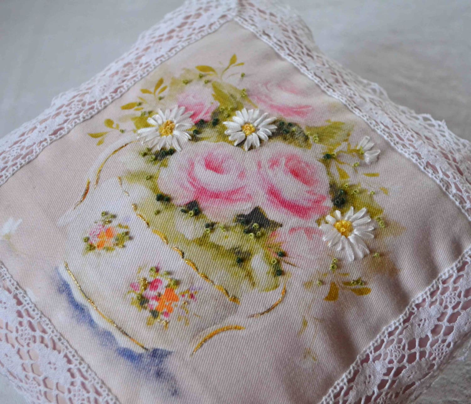 Silk ribbon embroidery kit daisies by frenchdecochic on etsy