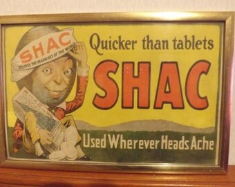 Original 1910's SHAC Headache Tablets Sign Cardboard Sign - NYC Trolley Card - Vintage Advertising Sign