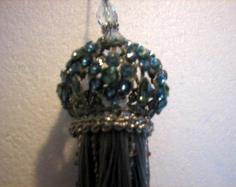 Stunning Vintage curtain Blue Green Rhinestone hanging ornaments hanging ball European Inspired