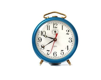French retro clock Japy vintage alarm clock blue retro home decor