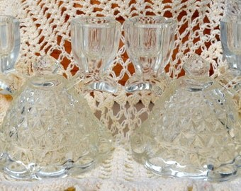 SALE - Pair Of Imperial Glass Double Candlestick Holders
