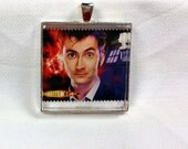 The Tenth Doctor David Tennant Dr. Who Daleks Time Lord TARDIS Science Fiction BBC Vintage Postage Stamp Pendant or Key Ring